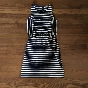 ann taylor fitted striped dress with pockets